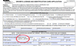 Fig. 2. The State of Virginia Driver's License Application Asks the Applicant to Indicate Gender