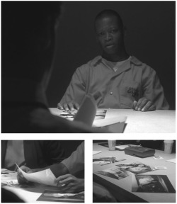 Figures 1-3. (Clockwise) Crime scene photographs in the New Jersey interrogation of D'Angelo Barksdale (1.13).