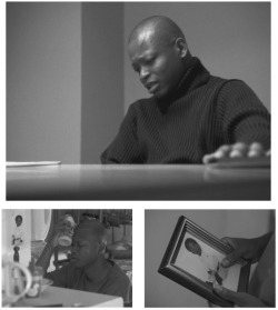 Figures 4-6. (4, top) D'Angelo Barksdale holds onto a frame during an interrogation in Baltimore (1.2). (5, bottom left) A photograph of D'Angelo's son is displayed on the refrigerator in his apartment (1.10). (6, bottom right) In his prison cell, D'Angelo holds a framed picture of his son (2.6).