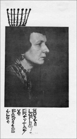 Fig. 1. Else Baroness von Freytag-Loringhoven, decorated photograph. The Little Review, September-December 1920, p. [4].