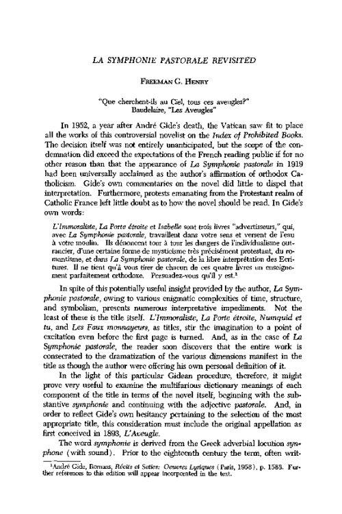 LA SYMPHONIE PASTORALE ANDRE GIDE PDF