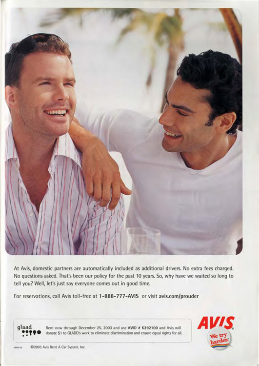 This Avis Ad Talks About Rates for Domestic Partners (2003)40