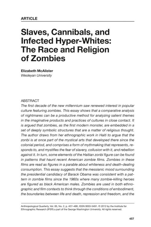 "zombie in haiti essay Unit three – expository research essay   tracing the history of the zombie from haiti to the cdc,"" npr: code switch, december 15, 2013."