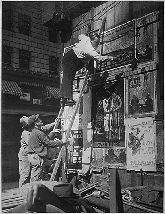 Posting Wartime PSAs in Times Square in 19171