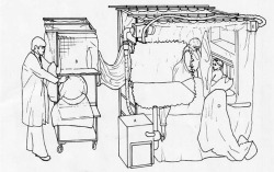 "Figure 6. Containment bed isolator showing a patient in bed, a nurse in a half-suit, and the entry port on the supply trolley in use; (A) air supply unit, (B) supply trolley, (C) attachment sleeve, (D) half-suit, (E) supply air filter, (F) exhaust air filter. Source: P. C. Trexler, R. T. D. Emond, and B. Evans, ""Negative-Pressure Plastic Isolator for Patients with Dangerous Infections,"" Brit. Med. J. 2 (1977): 559-61, 560."