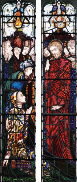 Plate 4. Harry Clarke, The Widow's Son (1924), central panels, Saints Peter and Paul Church, Balbriggan, Co. Dublin (photograph by Kelly Sullivan)