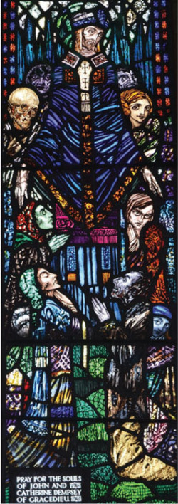Plate 5. Harry Clarke, St. Maculind (1924), detail of lower panel, Saint MacCullin's Church, Lusk, Co. Dublin (photograph by Kelly Sullivan)