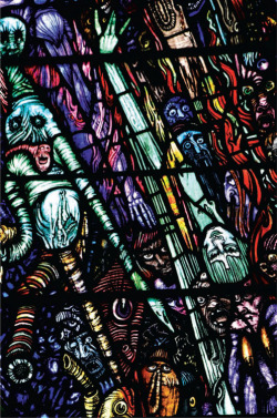 Plate 8. Harry Clarke, The Last Judgement (1930), detail showing self-portrait of the artist among the damned descending into hell, Saint Patrick's Church, Newport, Co. Mayo (photograph by Kelly Sullivan)