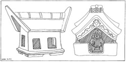 "Figure 36. Left: Haniwa of Yayoi house. (Drawn from a photograph in Haniwa). Right: Clay model of house of the Bahía culture, Ecuador. (Drawn from a photograph in Alfred Kidder II, ""Rediscovering America"")"