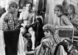 Fig. 1. The cast of Evgenii Kharitonov's plastic pantomime Enchanted Island (1972-1980) in the dressing room of the Theater of Mimicry and Gesture before the show (left to right): Ivan Lesnikov, Boris Gorevoi, Ritta Zhelezova, Boris Basin, and Gennadii Skachkov.