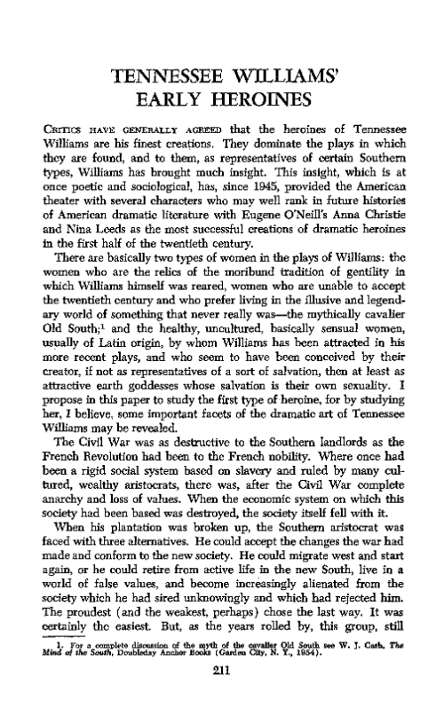 an analysis of the character actions in tennessee williams plays The essay question is not on the document - this document can an analysis of the character actions in tennessee williams plays be used for note taking purposes.