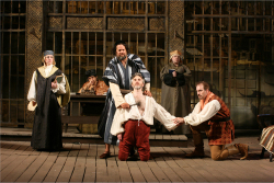 Fig. 15. (L to R) Melanie Keller (Portia), René Ruelas (Duke of Venice), Michael Goldberg (Shylock), Michael Joseph Mitchell (Anthonio), Hayley L. Rice (Nerissa), and Kevin McKillip (Bassanio) in First Folio Theatre's The Merchant of Venice, directed by Alison C. Vesely. Photo courtesy of David Rice.