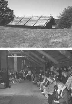 Figure. 1. Top: Cathlapotle Plankhouse located on the Ridgefield National Wildlife Refuge. Bottom: Plankhouse grand opening, March 29, 2005. Author's photographs.