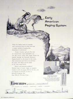 Fig. 19. This Ad Depicts the Stereotypic Idea of Native American Communication through Smoke Signals