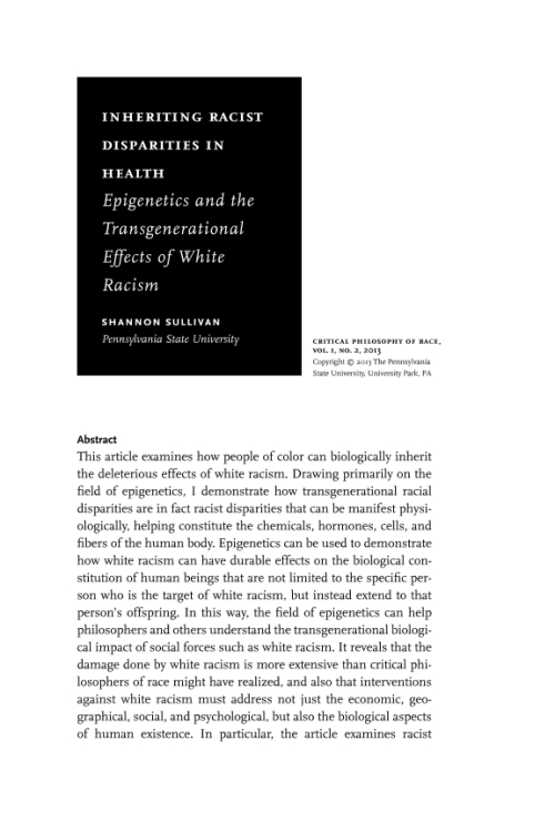 Epigenetics and the Transgenerational Effects of White Racism