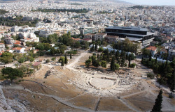 Fig. 1. The Acropolis Museum in Athens, adjacent to the Theatre of Dionysos, as seen from the Athenian Acropolis in 2008. (Photo by D. W. J. Gill.)