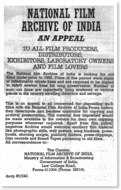 Figure 4. An appeal published by the National Film Archive of India in The Hindu, 9 November 1980.<br/><br/>Courtesy NFAI Document.