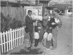 Figure 7. Marines helping out an orphanage in Pohang, March 1953. Courtesy National Archives and Records Administration (NARA), photo no. 127-GK-16-A345279.
