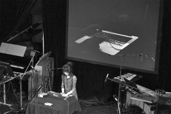 Figure 1. The Japanese composer and sound artist Haco performs in the concert of keynote speakers at the International Computer Music Conference. (Photo: Brad Serls.)