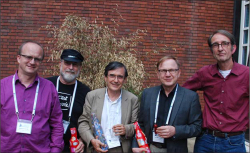 Fig 1. ICOHTEC officers (l-r): Slawomir Lotysz, secretary general; James Williams, editor in chief of ICON; Patrice Bret, outgoing treasurer; Timo Myllyntaus, president; and Dick van Lente, vice president. <br/><br/>(Photo: Slawomir Lotysz.)