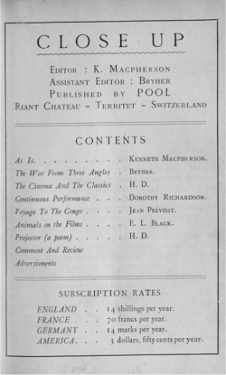 Fig 1. Table of Contents, Close Up 1, no. 1, July 1927.<br/><br/>Image courtesy of Museum of Modern Art Library.