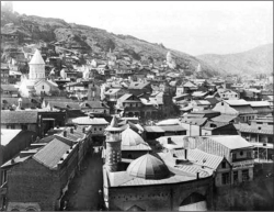 Fig 1. Tbilisi seen from Metekhi Castle, Dmitrii Ermakov, 1900.<br/><br/>Tbilisi City Museum.