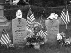 Figure 2. Graves of Alexander (right) and Brian (left) Arredondo, Walpole Rural Cemetery, Walpole, Massachusetts. Photo by Linda Pershing.