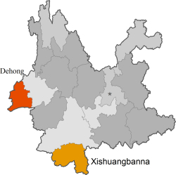 Map 2. Dehong Prefecture and Xishuangbanna Prefecture, Yunnan Province.