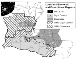 Figure 4. Shows the Cajun Country and Crossroads regions of the CRT that overlap with the actual regions based on the distribution of businesses using those terms with the addition of the Ark-La-Tex region.