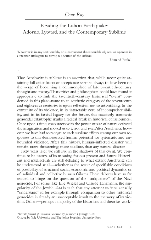 kants sublime essay Kant's first attempt to articulate a theory of the sublime is found in his pre-critical observations on the feeling of the beautiful and the sublime, published in 1764.