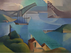 Fig 1. Dorrit Black, The Bridge (1930). Oil on canvas.<br/><br/>Collection of the Art Gallery of South Australia. 60 × 81 cm. Bequest of the artist, 1951.