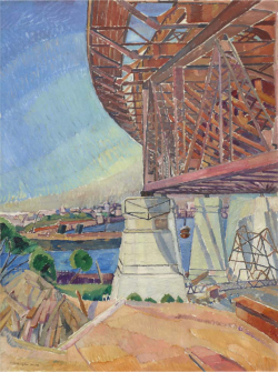 Fig 2. Grace Cossington Smith, The Curve of the Bridge (1928-29). Oil on cardboard.<br/><br/>Collection of the Art Gallery of New South Wales. 110 × 82.5 cm. Purchased with funds provided by the Art Gallery of New South Wales and James Fairfax, AO 1991.