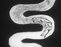 Figure 1. The boy in A Feather Stare at the Dark moves by being drawn, erased, and drawn again, leaving a trail of charcoal residue in his wake. Thinking and Drawing: Japanese Art Animation of the New Millennium (Image Forum Video/Daguerreo Press, 2005).