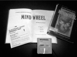"Figure 6. Mindwheel, by Pinsky, et al. Slipcover, book, and 3.5-inch diskette. Note label on slipcover specifying it as the Macintosh version and the two ""Programmers"" who are given billing alongside of the ""Author."" Pinsky was responsible for the electronic content, but the text in the printed volume was by Sanford.<br/><br/>Photo by Kirschenbaum."