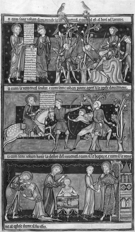 Fig 8. The Life of Saint John: (top) the bishop tells John that the youth has become a robber, and the robbers in the woods; (middle) John rides to the woods to find the youth, and the youth runs away from him; (bottom) John kisses the arm of the youth, baptizes him, and leads him to church. Trinity Apocalypse (Cambridge, Trinity College, MSR.16.2), fol. 30v.<br/><br/>Courtesy of Trinity College, Cambridge.