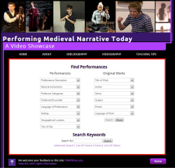 Fig 1. The home page of Performing Medieval Narrative Today: A Video Showcase ().