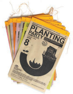 Fig 13. Victory Gardens posters, 2008. Silkscreened posters announcing planting parties for 15 pilot gardens given away in 2008.<br/><br/>Credit: Futurefarmers.