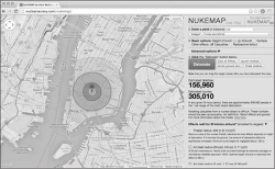 "Fig 1. NukeMap detonation of ""Gadget,"" the twenty-kiloton bomb used in the Trinity test, over Manhattan. The visitor has selected what information she/he would like to model; in this instance, fatalities, injuries, and effects radii are indicated. Hyperlinks lead to information about the model itself, historical background, and access to NukeMap 3-D, which runs on Google Earth, as opposed to this version, which operates via Google Maps., courtesy of Alex Wellerstein.)"