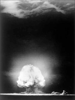 "Fig 2. Photographic documentation of the Trinty test, the detonation of the ""Gadget"" by the U.S. Army in New Mexico on 16 July 1945.<br/><br/>(Source: LA-UR-06-1068, courtesy of the Los Alamos National Library, Los Alamos, New Mexico.)"