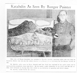 "Fig 2. ""Katahdin As Seen By Bangor Painter."" Bangor Daily News, February 8, 1940. Marsden Hartley Scrap-book, Yale Collection of American Literature, Beinecke Rare Book and Manuscript Library, Yale University, New Haven."