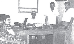 Figure 4. Mayor Yanni Yanni (seated, center), with local Council member and later mayor Violette Khouri. <br/><br/>Unless otherwise noted, all photos are from the author's family collection, and used by permission.