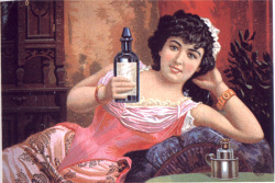 Figure 2. Nineteenth century trade card, featuring a sexy woman selling alcohol.