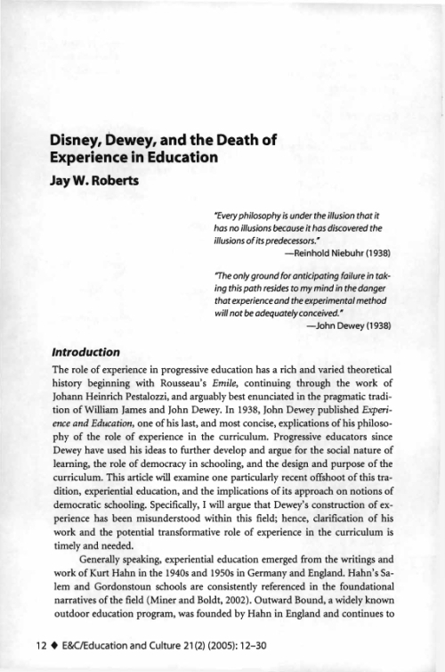 Project MUSE - Disney, Dewey, and the Death of Experience in Education - 웹