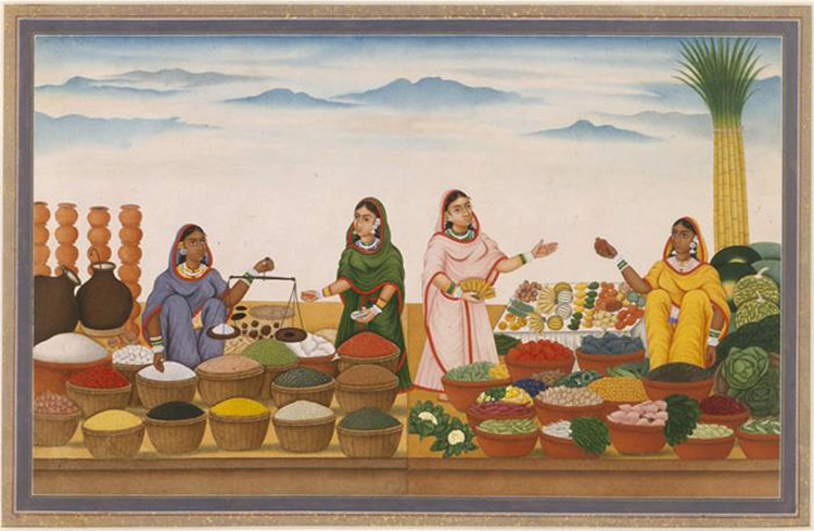 An Open-Air Spice Market in India, c.18507