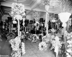 Figure 2. Throne Room of 'Iolani Palace with Lili'uokalani lying in state, 1917, Library of Congress.