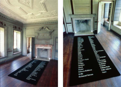 Figure 8 and 9. Kimsooja, Planted Names, 2002. Set of 4 woven carpets. Installation at Drayton Hall Plantation House.<br/><br/>Photo: John McWilliams. Courtesy of Spoleto Festival USA, Charleston, South Carolina.