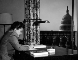 Fig 1. Elizabeth Bishop, at her desk in the office of consultant in poetry to the Library of Congress, ca. 1950.<br/><br/>Courtesy of the Library of Congress.