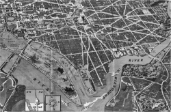 "Fig 2. Detail, ""Washington In and Out Guide"" (Washington, DC: R. C. Traster and Sons, 1938). St. Elizabeths Hospital is visible in the lower right portion of this detail. Across the Anacostia River and to the northwest, in the upper left quadrant of the detail, are the United States Capitol and the Library of Congress."