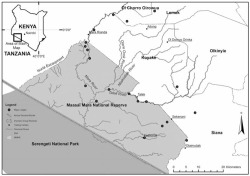 Figure 1. The study area lies within the greater Serengeti-Mara Ecosystem and encompasses the former Koyake Group Ranch.