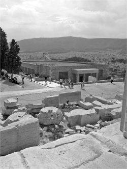 Fig 4. View of the Old Acropolis Museum building from the eastern stylobate of the Parthenon. June 27, 2014.<br/><br/>Photo by author.